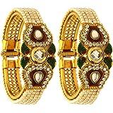 Zeneme Designer Pearl Antique Gold Plated Bangles / Kada Jewellery for Women / Girls
