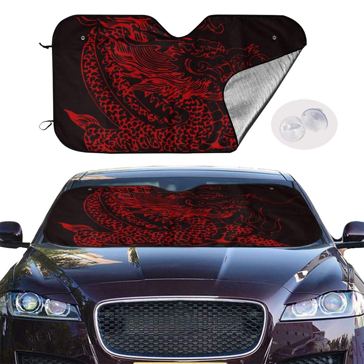 antirayos UV Parasol Plegable para Coche Furgonetas SUV Camiones antideslumbrante LDDDP Parasol para Parabrisas con dise/ño de drag/ón Rojo Chino