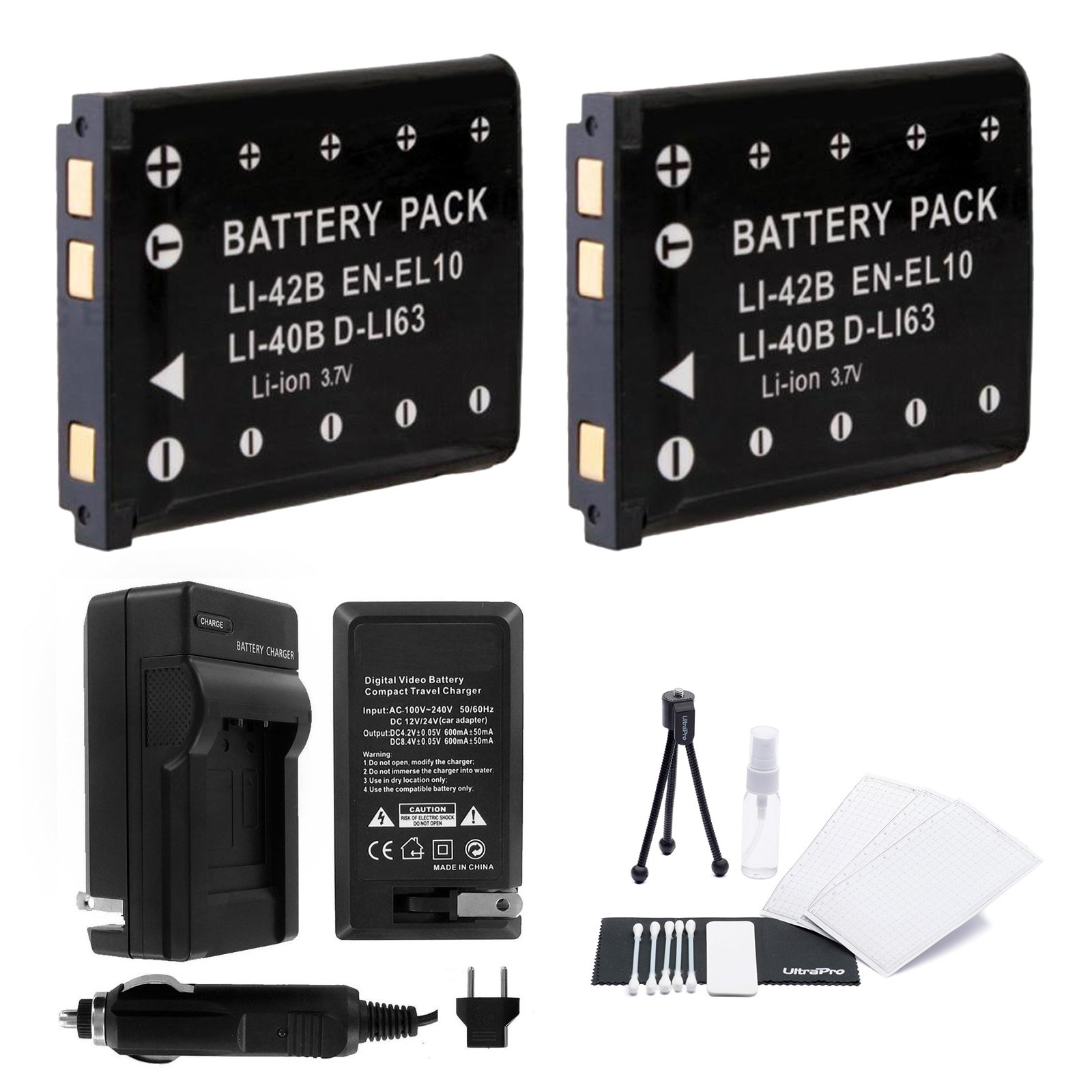 EN-EL10 Battery 2-Pack Bundle with Rapid Travel Charger and UltraPro Accessory Kit for Select Nikon Coolpix Cameras