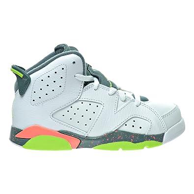 83f9749a093 Jordan 6 Retro BP Little Kid's Shoes White/Green/Hasta/Bright Mango 384666