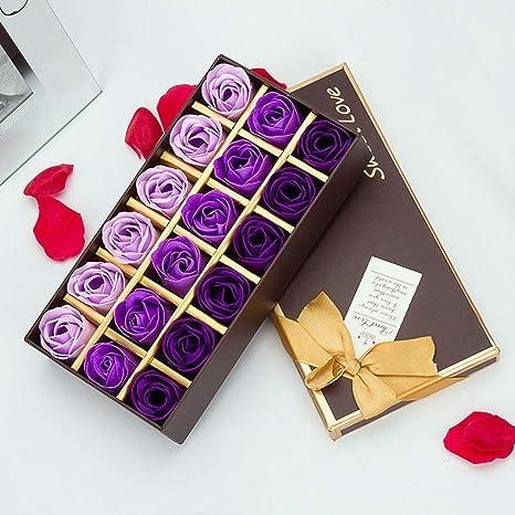 VanseRun 18 Pezzi profumato per il bagno petali rosa Rosa Creativo regalo Fiore del sapone artificiali Rose fiori di sapone per la festa di compleanno San Valentino