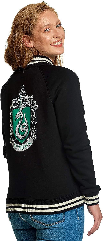 Elbenwald Harry Potter Collegejacke Hogwarts Slytherin Hauswappen f/ür Damen schwarz