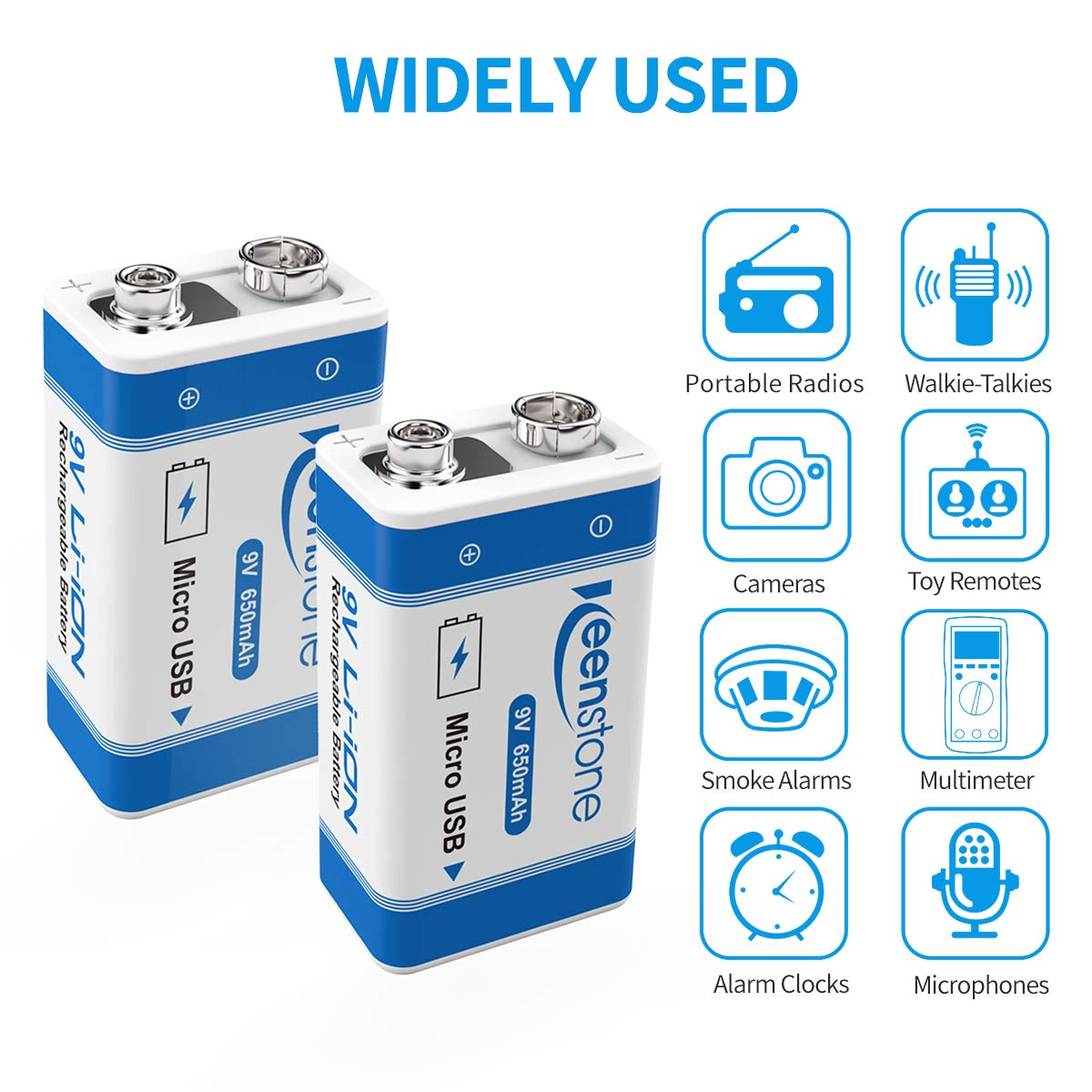 9V Rechargeable 650mAh Li-ion Battery with Micro USB Charging Port - 4 Pack