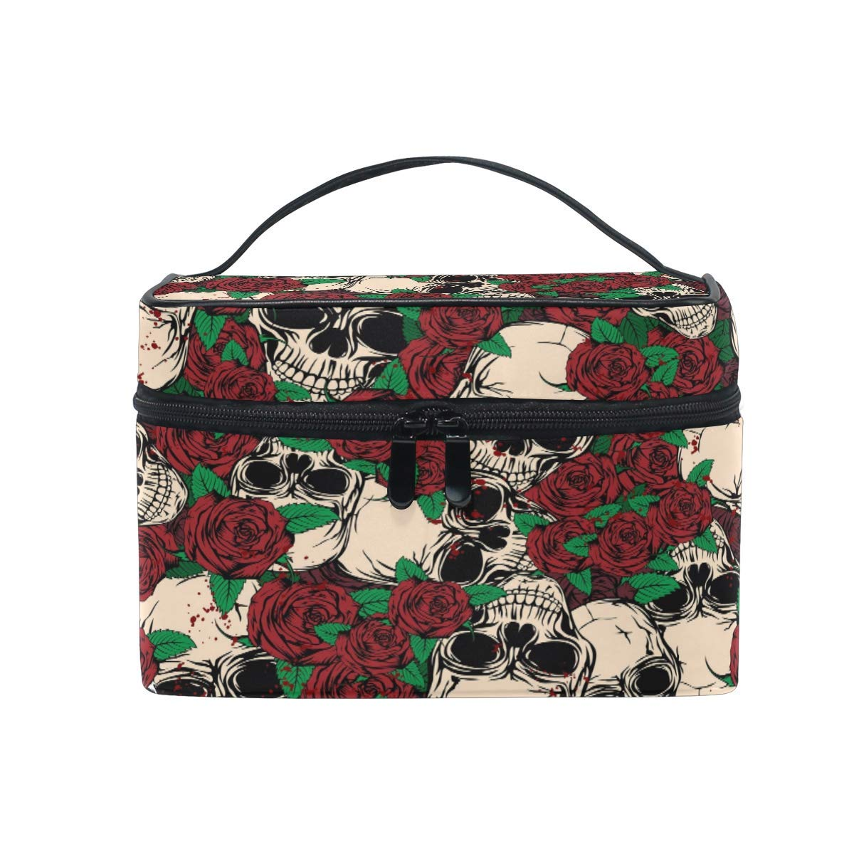 Makeup Bag, Flower Rose Sugar Skull Portable Travel Case Large Print Cosmetic Bag Organizer Compartments for Girls Women Lady