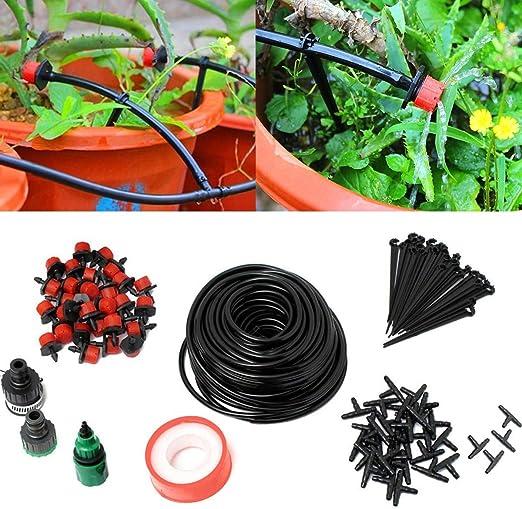 TOPWA Kit de riego por goteo con sistema de microflujo 82 pies kit manguera de jardín para exteriores patio invernadero paisajismo plantas riego de flores goteadores accesorios: Amazon.es: Jardín