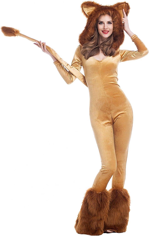 Disfraz de león sexy para mujer, mono con capucha, piel sintética, para carnaval