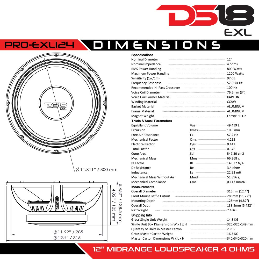 DS18 PRO-EXL124 Loudspeaker - 12'', Midrange, Red Aluminum Bullet, 1200W Max, 800W RMS, 4 Ohms, Ferrite Magnet - For the Peple Who Live and Breathe Car Audio (1 Speaker) by DS18 (Image #3)