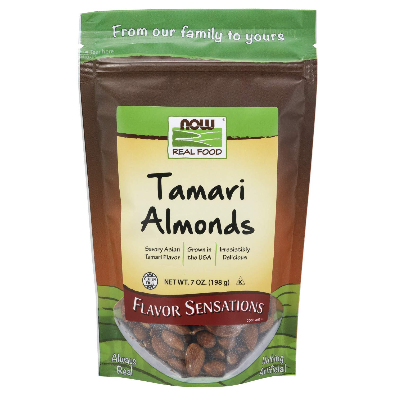 NOW Foods, Tamari Almonds, Flavor Sensations, Savory Asian Tamari Flavor, Gluten-Free and Certified Non-GMO, 7-Ounce