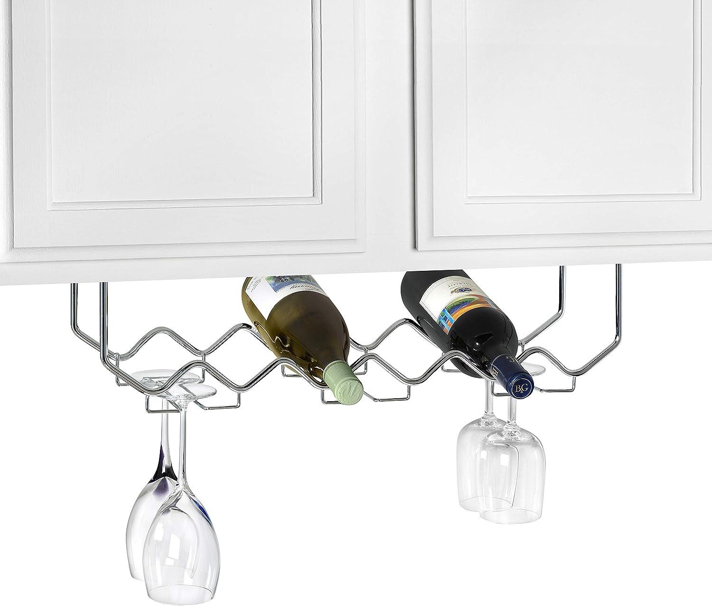 Spectrum Diversified Under Cabinet Wine Rack Stemware Holder Holds 6 Bottle 6 Stems Space Saving Under Cabinet Kitchen Wine Storage Home Bar Organization Home Kitchen