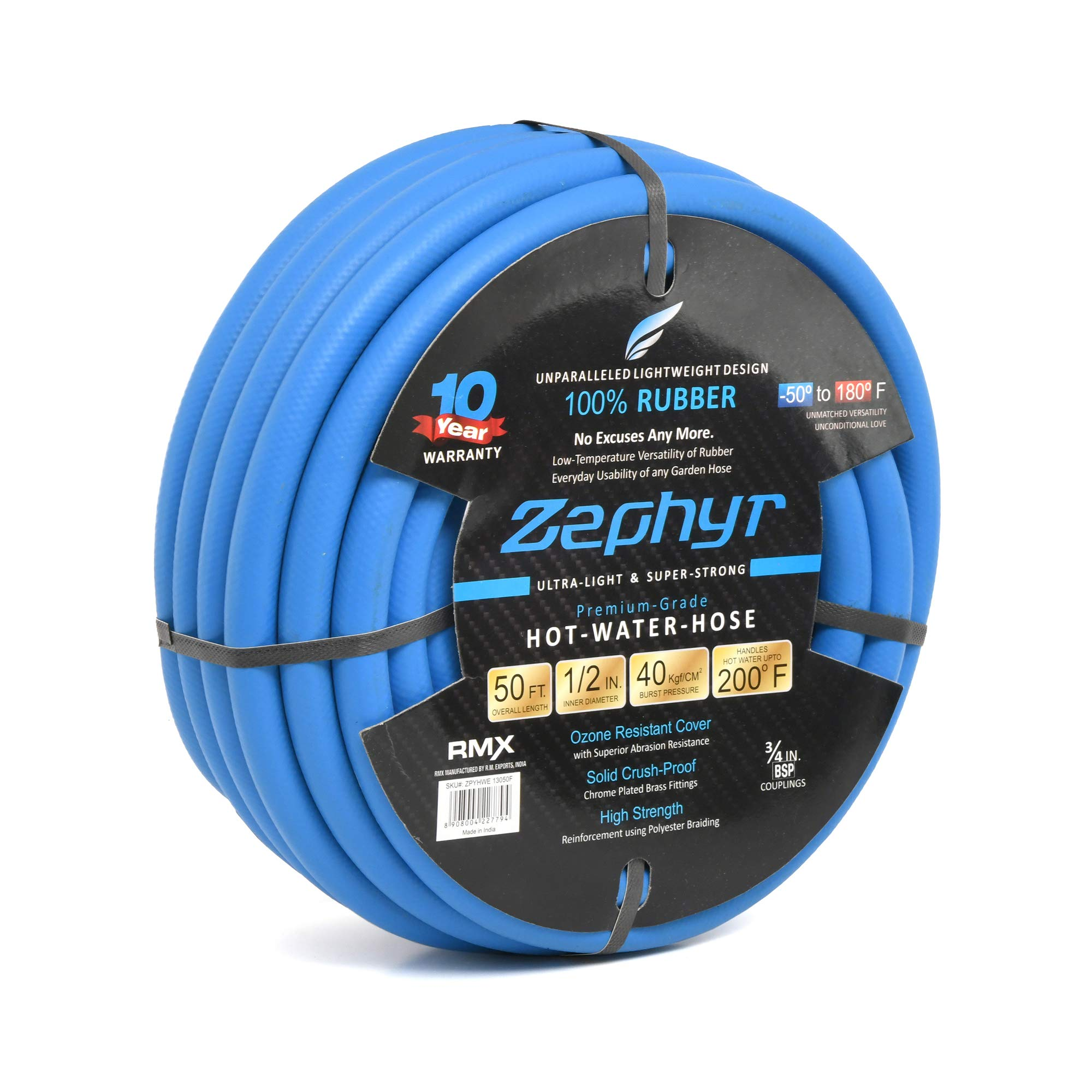 "Zephyr Next-gen Garden Hose (1/2"" x 50ft, Ultra-Light Flexible Rubber, Brass Fittings), Blue product image"