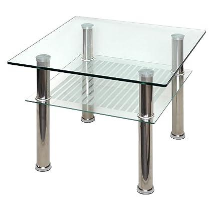 Mesa de Cristal 60 x 60 cm Auxiliar – Mesa Mesa de Acero Inoxidable con Vidrio de Seguridad Templado de 10 mm