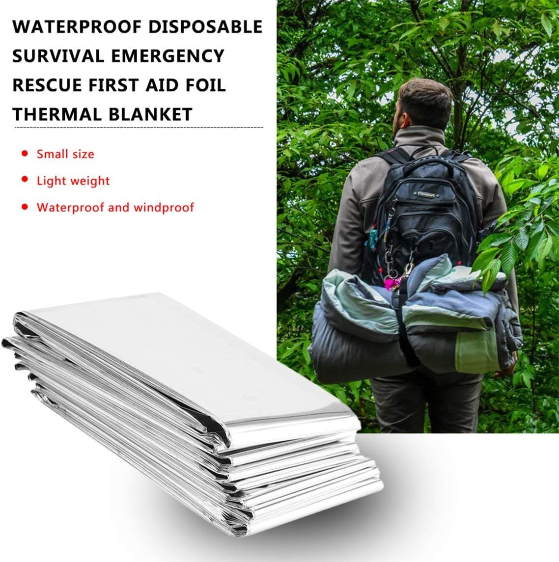 fgdjfhsdfgsdfh Waterproof Disposable Outdoor Military Survival Emergency Rescue Space Foil Thermal Blanket First Aid Sliver Curtain