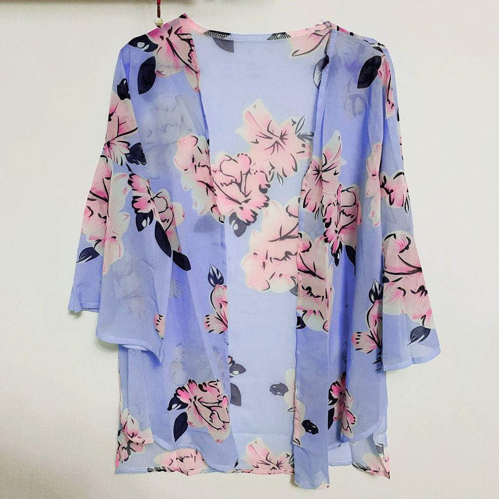 DEELIN Kimono Mujer, Verano Suelto Floral De La Manga De La ...