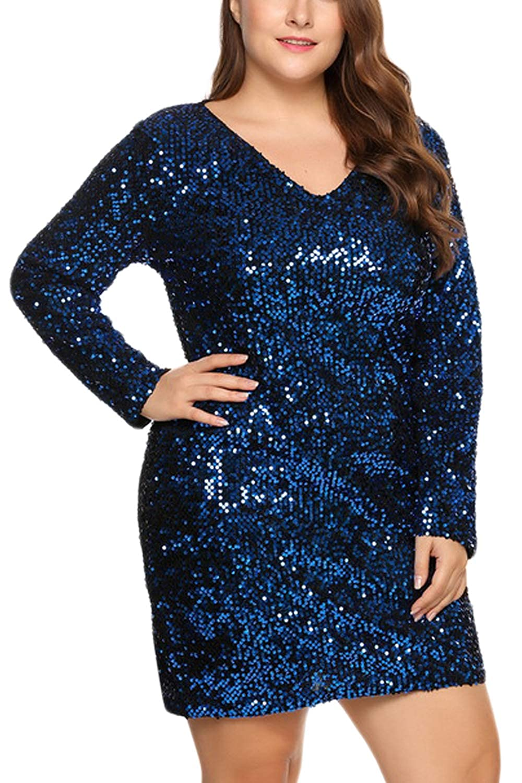 Fasumava Mini Vestidos Bodycon De Lentejuelas Calientes De Invierno De Talla Grande para Mujer