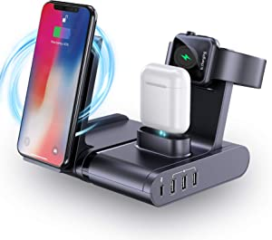 seenda Fast Charging Station for Multiple Devices, 90W 4 Port USB C Charger (1 60W USB C + 3 USB A Ports) with 10W Wireless Charger for iWatch AirPods iPhone MacBook,Tablet iPad and More