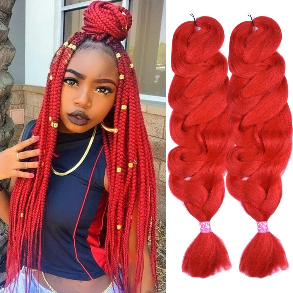 Christmas Gifts 2 Pack Jumbo Braiding Hair Red Color Xpression Braiding Fiber Hair Extensions African Jumbo Braids For Twist Corchet 165g Pcs 84inch Red Beauty