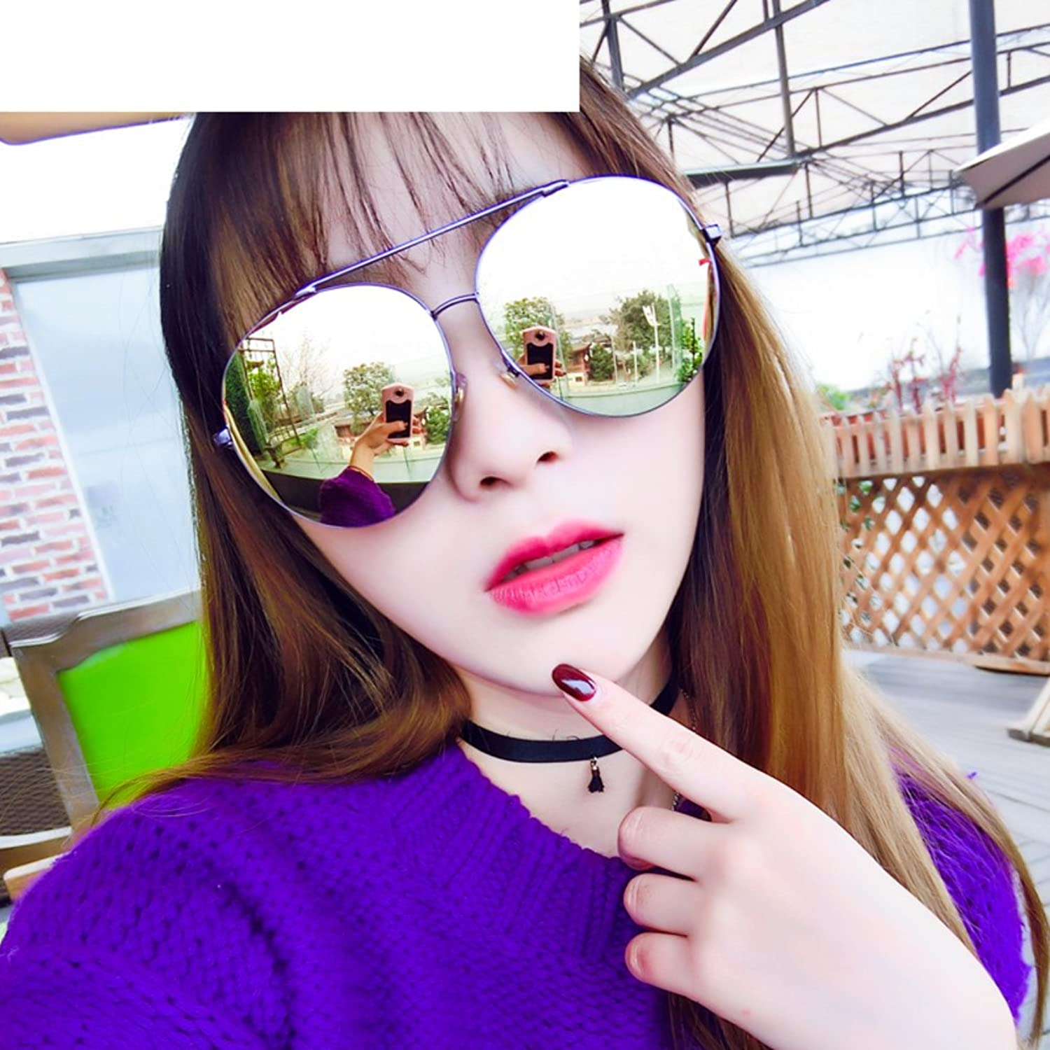 Korean version of the large frame sunglasses/Round face girl frog mirror/Driving sunglasses/Personality color film reflective retro glasses