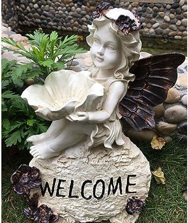 Estatua de decoración de jardín Resina Idílica de época Ángel Bienvenido Diversión Jardín Letrero Accesorios for el jardín Estatuas en miniatura for la oficina en casa Patio exterior Balcón Tienda Dec: Amazon.es: