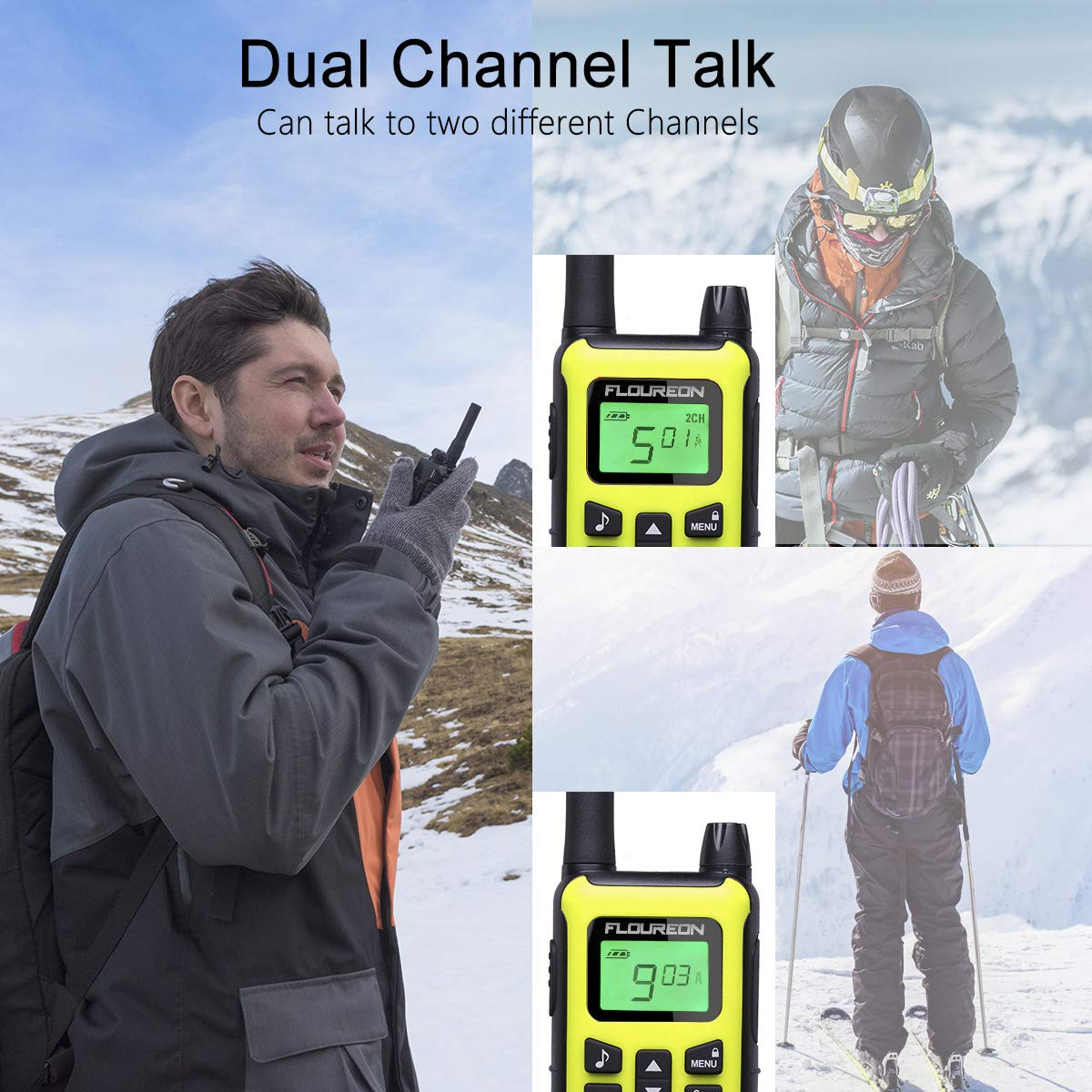 FLOUREON 4 Packs Walkie Talkies Two Way Radios 22 Channel 3000M (MAX 5000M Open Field) Long Range Handheld Talkies Talky (Yellow) by floureon (Image #7)