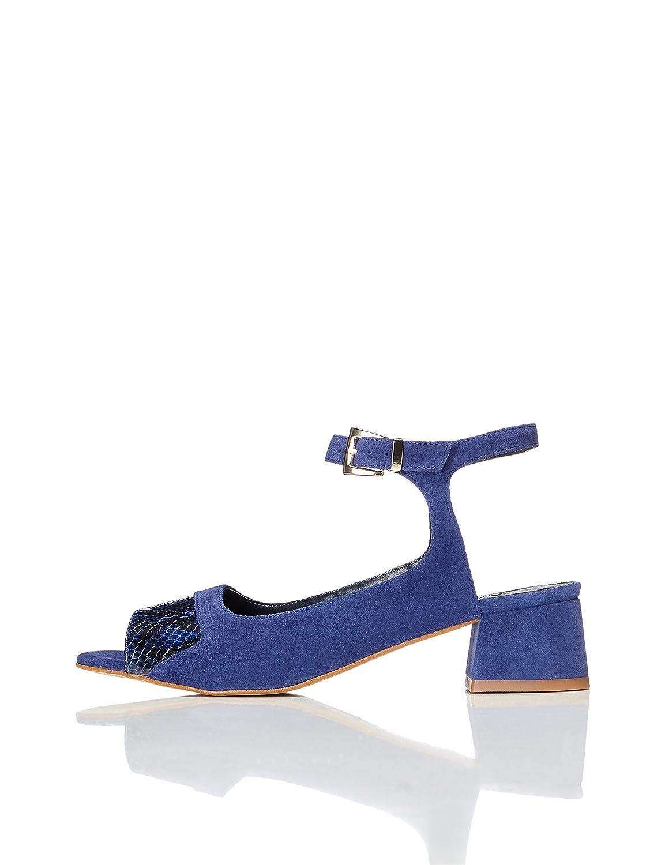 FIND Sandalen Damen Schlangenleder-Effekt Knöchelriemchen  37 EU|Mehrfarbig (Blue)