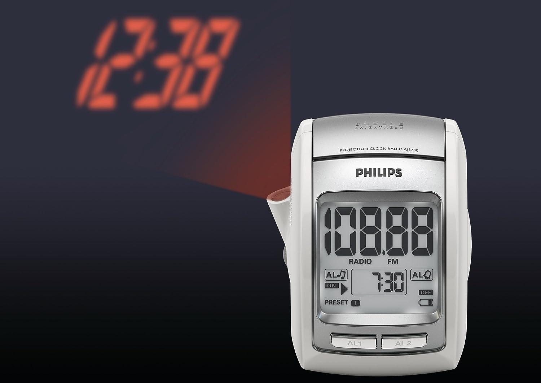 Philips AJ3700/12 - Radio despertador (Sintonizador FM, temporizador y proyección), plateado: Amazon.es: Electrónica