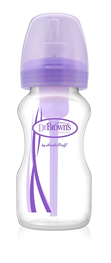 Dr. Browns Options - Biberón de boca ancha, 270 ml, color morado