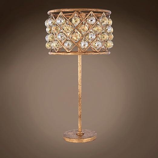 Amazon.com: Lámpara de mesa de cristal de teca dorada ...