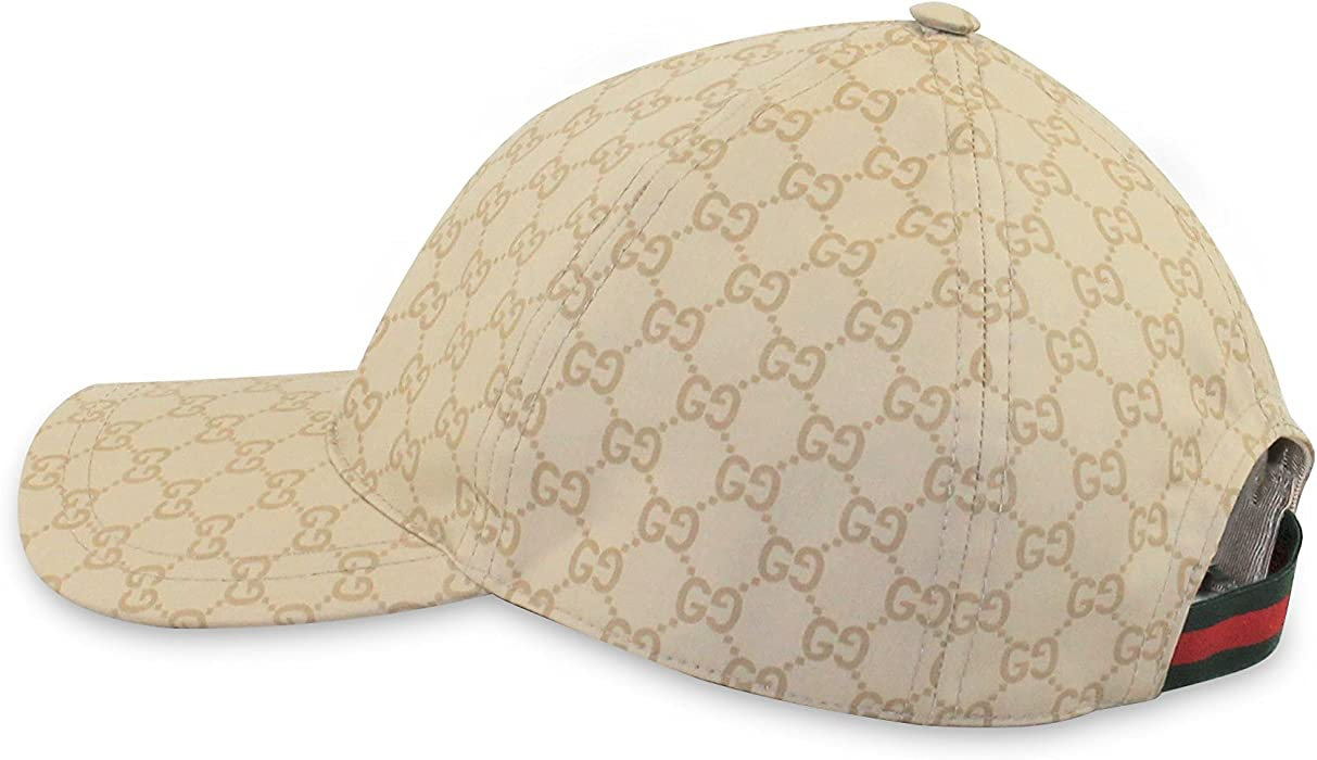 f86dee17 Amazon.com: Gucci GG Cotton Web Stripe Baseball Cap, Beige (Large ...
