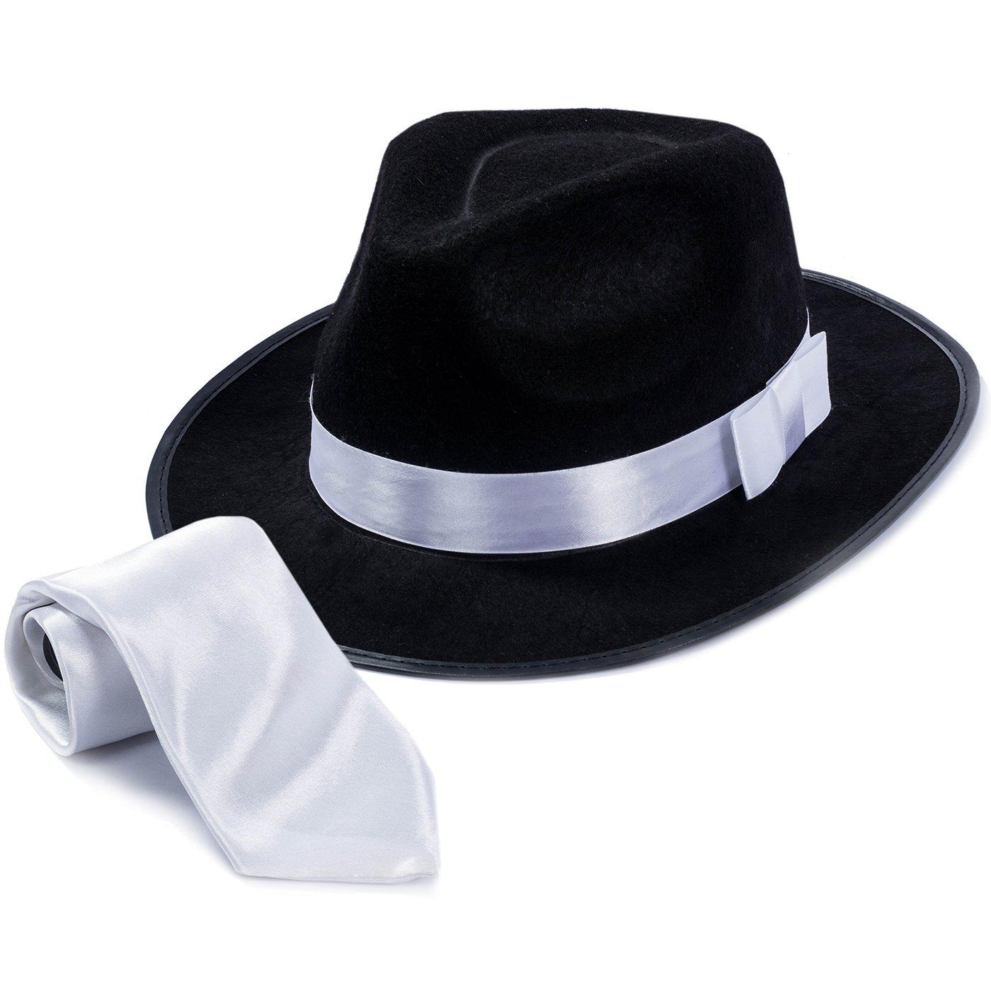 Tigerdoe Fedora Gangster Hat - Mobster Costume - Felt Hat & White Neck Tie - (2 Pc Set) Fedora Hat f-tg158