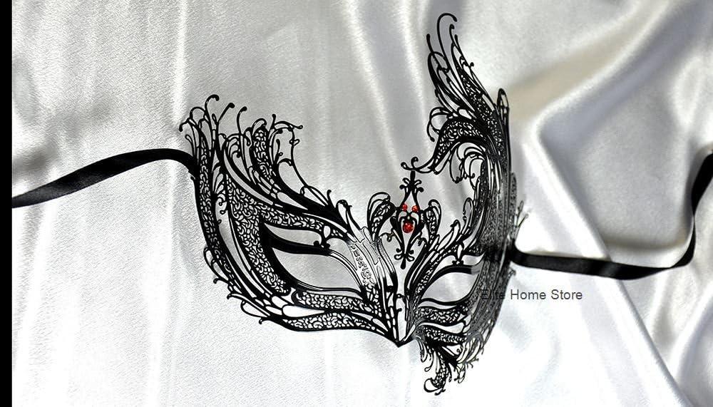 Black Swan Venetian Laser Cut Light Metal Masquerade Mask Red Diamonds for Women