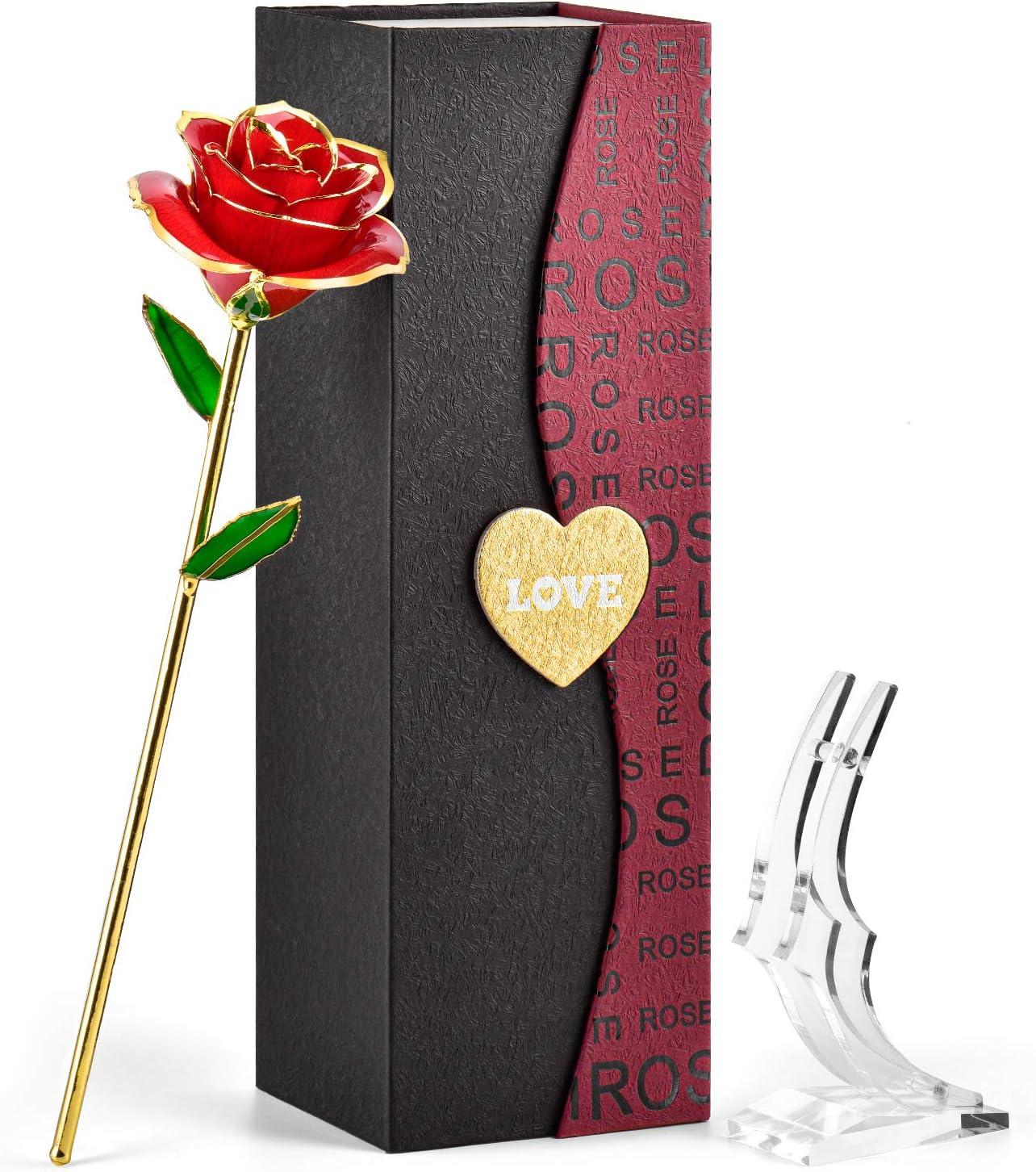 FORGIFTING Rosa Eterna, Flor Rosa de Oro de 24K - Regalos Originales para Mujer Ella Madre Novia Abuela en San Valentín, Sant Jordi, Día de la Madre, Aniversario, Boda, Cumpleaños (Rosa Roja+Soporte)