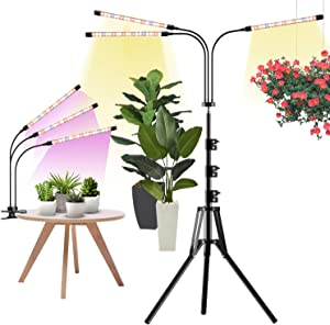 Grow Light with Stand & Clip, Kormas 63'' Adjustable Tripod Floor Growing Lamp, 3 Head LED Full Spectrum Clip-on Plant Light for Indoor Plants with Auto On/Off Timer, 3 Modes 10 Dimmable Levels