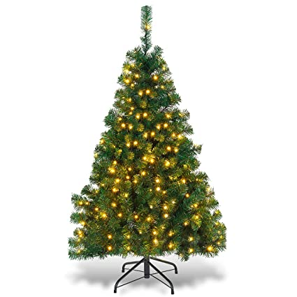 Goplus Artificial Christmas Tree Premium Spruce Hinged Tree with LED Lights  and Solid Metal Stand, - Amazon.com: Goplus Artificial Christmas Tree Premium Spruce Hinged