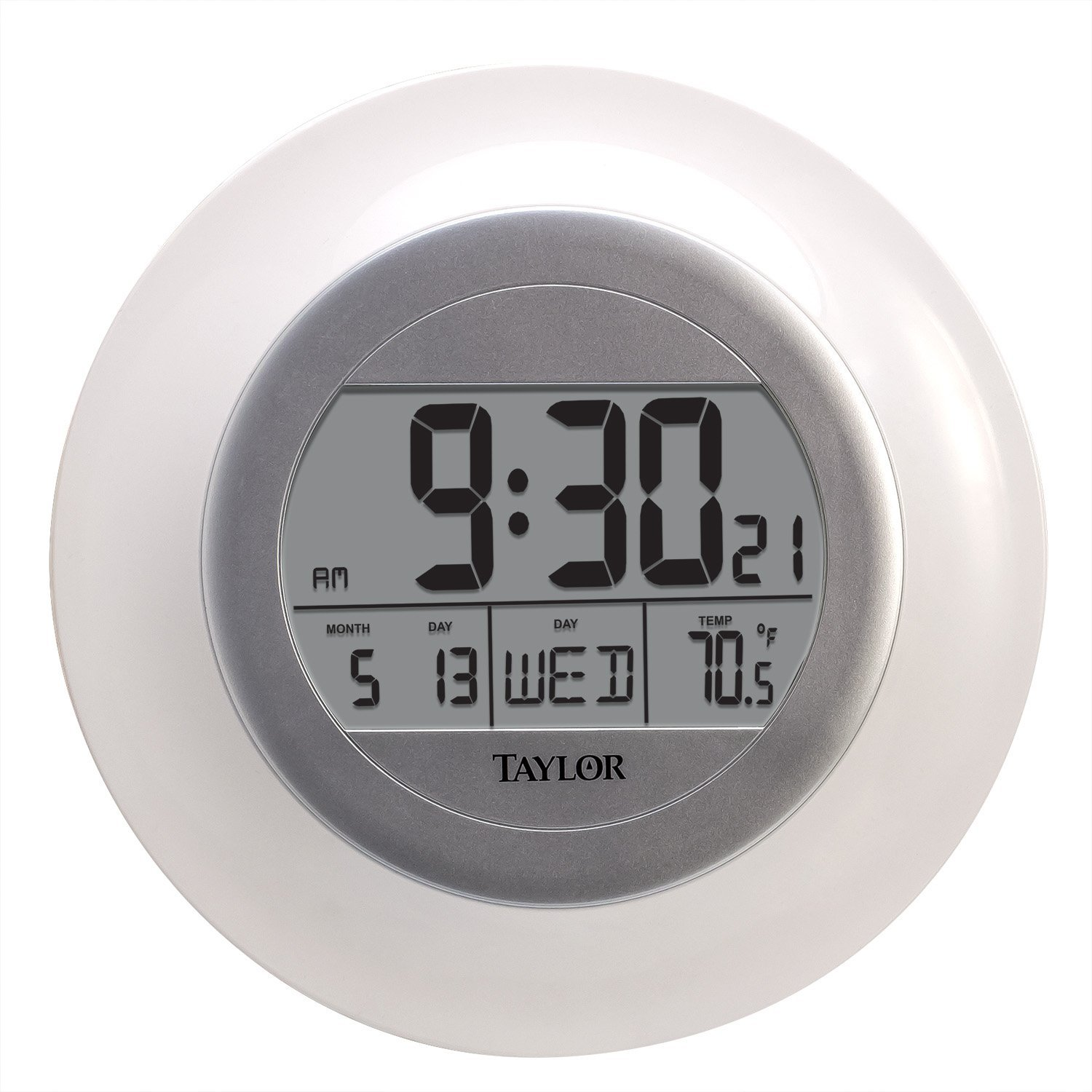 Taylor Wireless Digital Atomic Wall Clock with Indoor Temperature Taylor Precision Products 1750