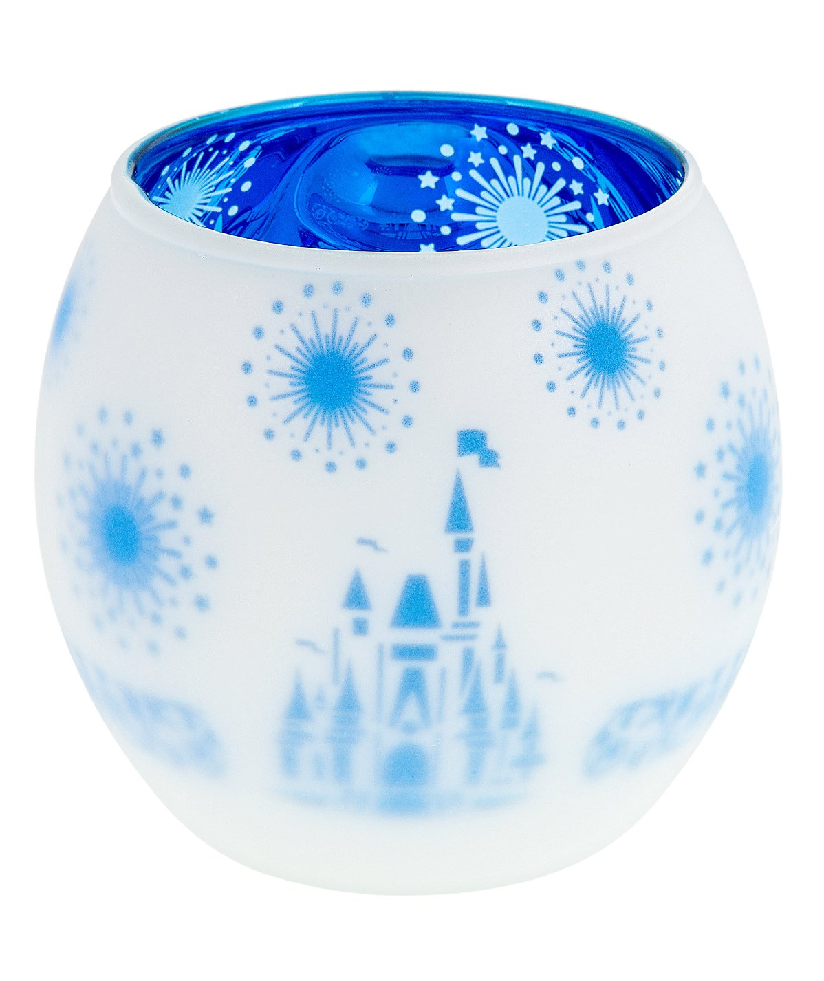Disney Parks Glass Frosted Cinderella Castle Votive Candle Holder New