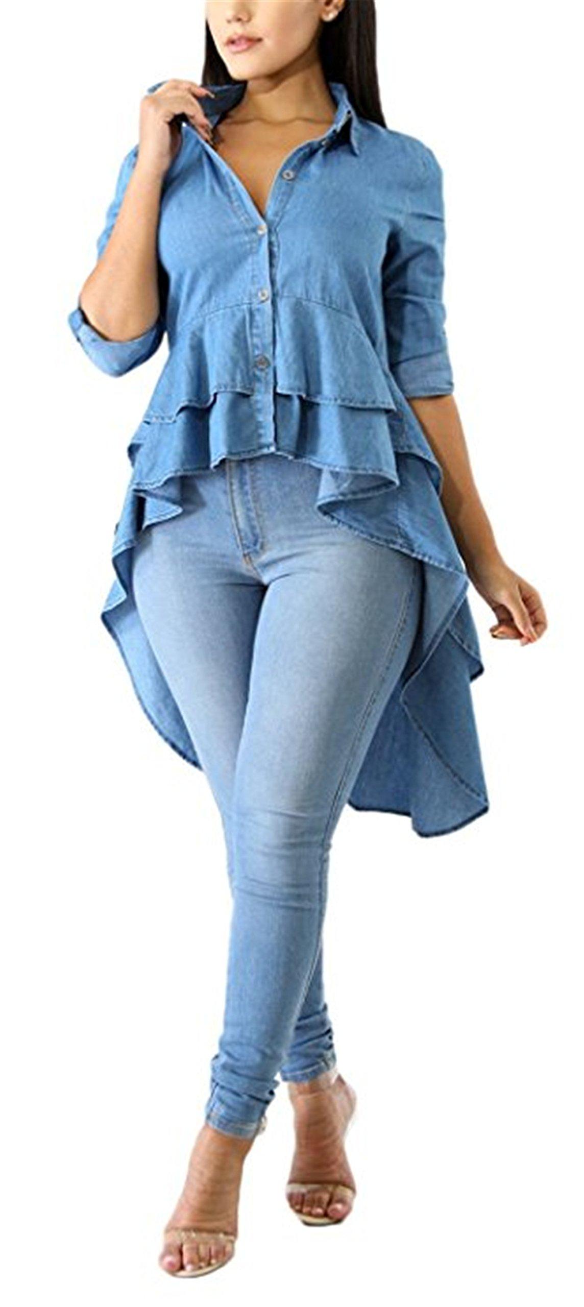Fashion Cluster Womens Summer Long Sleeve Denim Blue Irregular High Low Hem Buttom Down Tunic Tops Blouse Boho Maxi Polo Shirt Dress XXL by Fashion Cluster (Image #1)