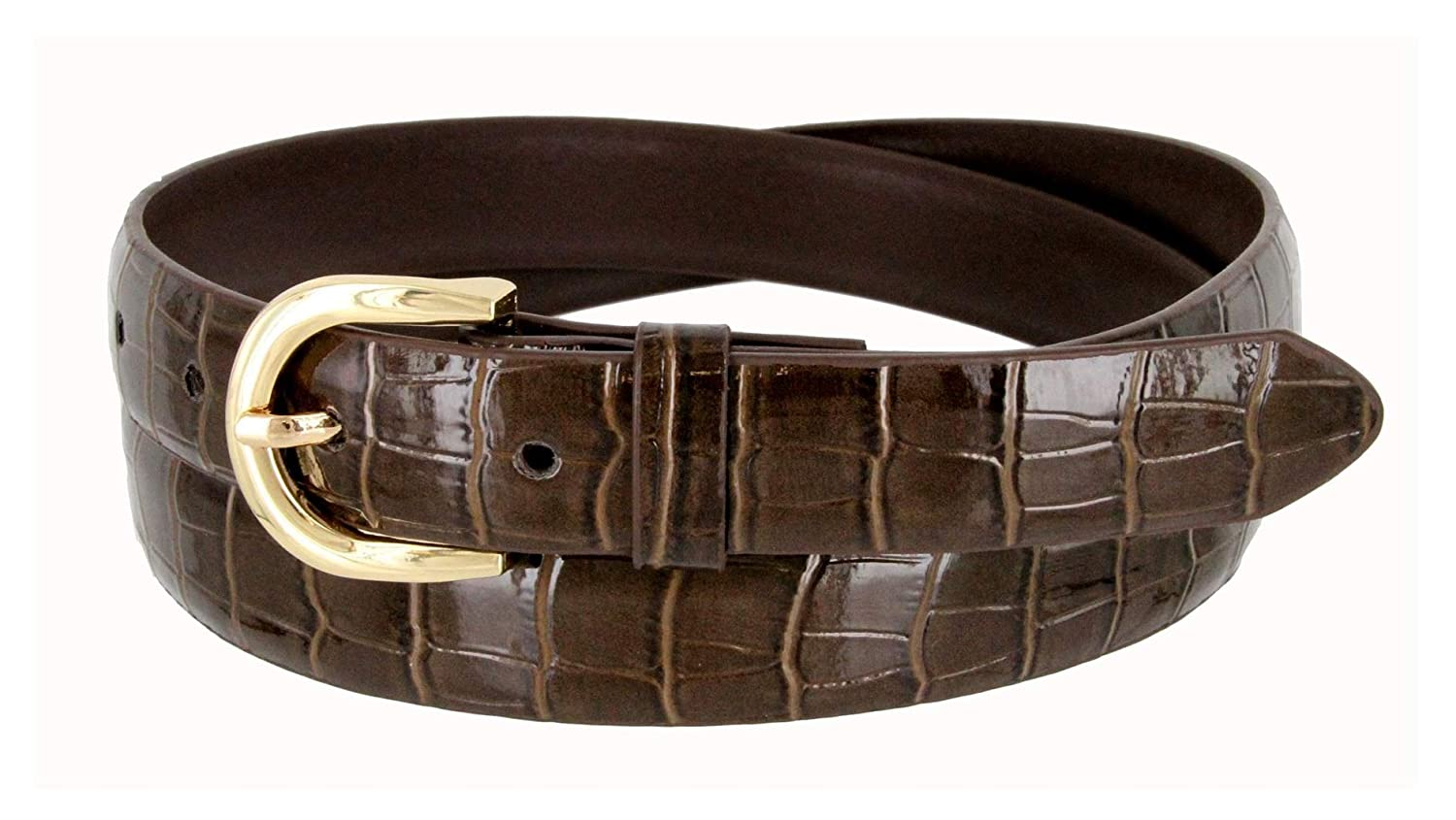 Womens Skinny Thin Alligator Embossed Genuine Leather Belt BSC
