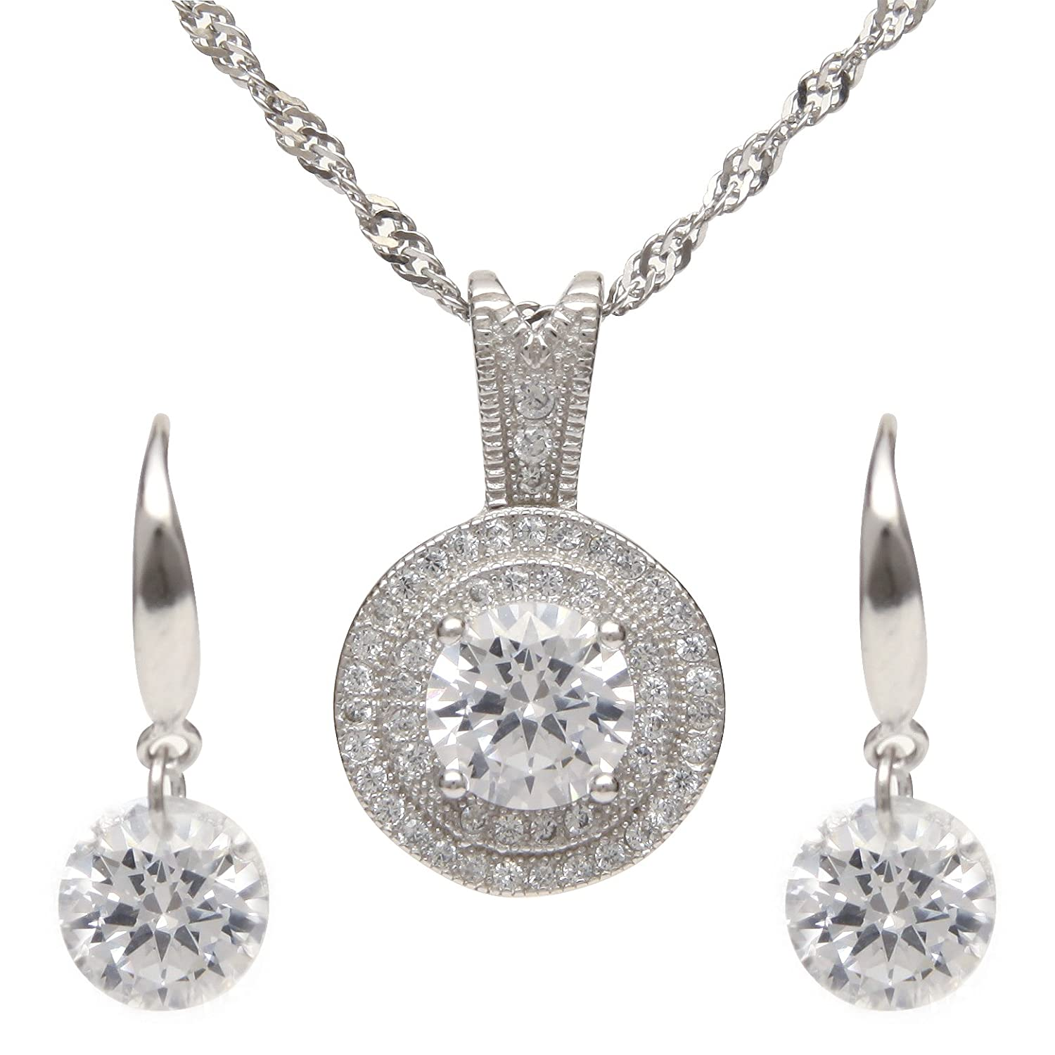 1.25 CT AAA Grade Cubic Zirconia Necklace and Earrings Jewelry Set