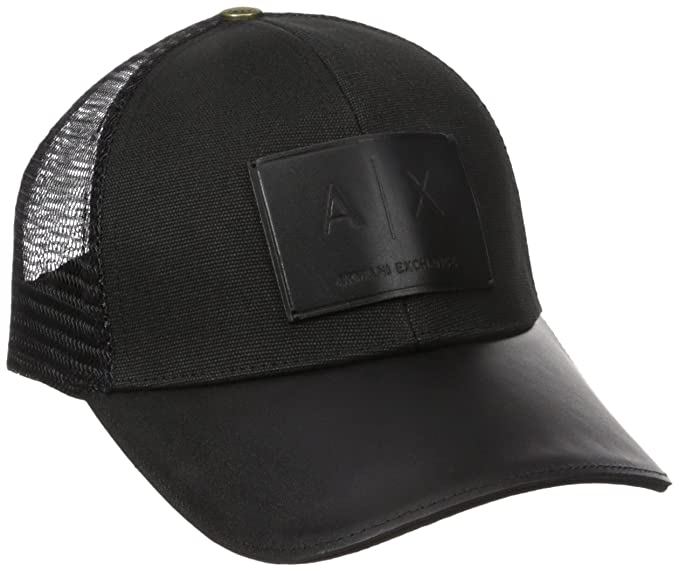 b03610ad1 Armani Exchange A|X Men's Logo Patch Trucker Hat Baseball Cap, Black ...