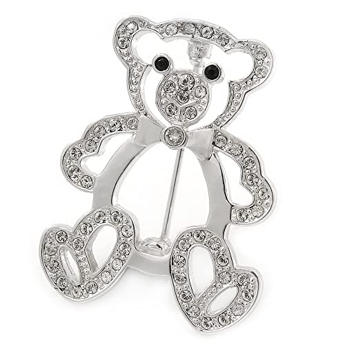 Avalaya Black/White Clear Crystal Cat Brooch In Rhodium Plated Metal - 33mm L LClyB2w