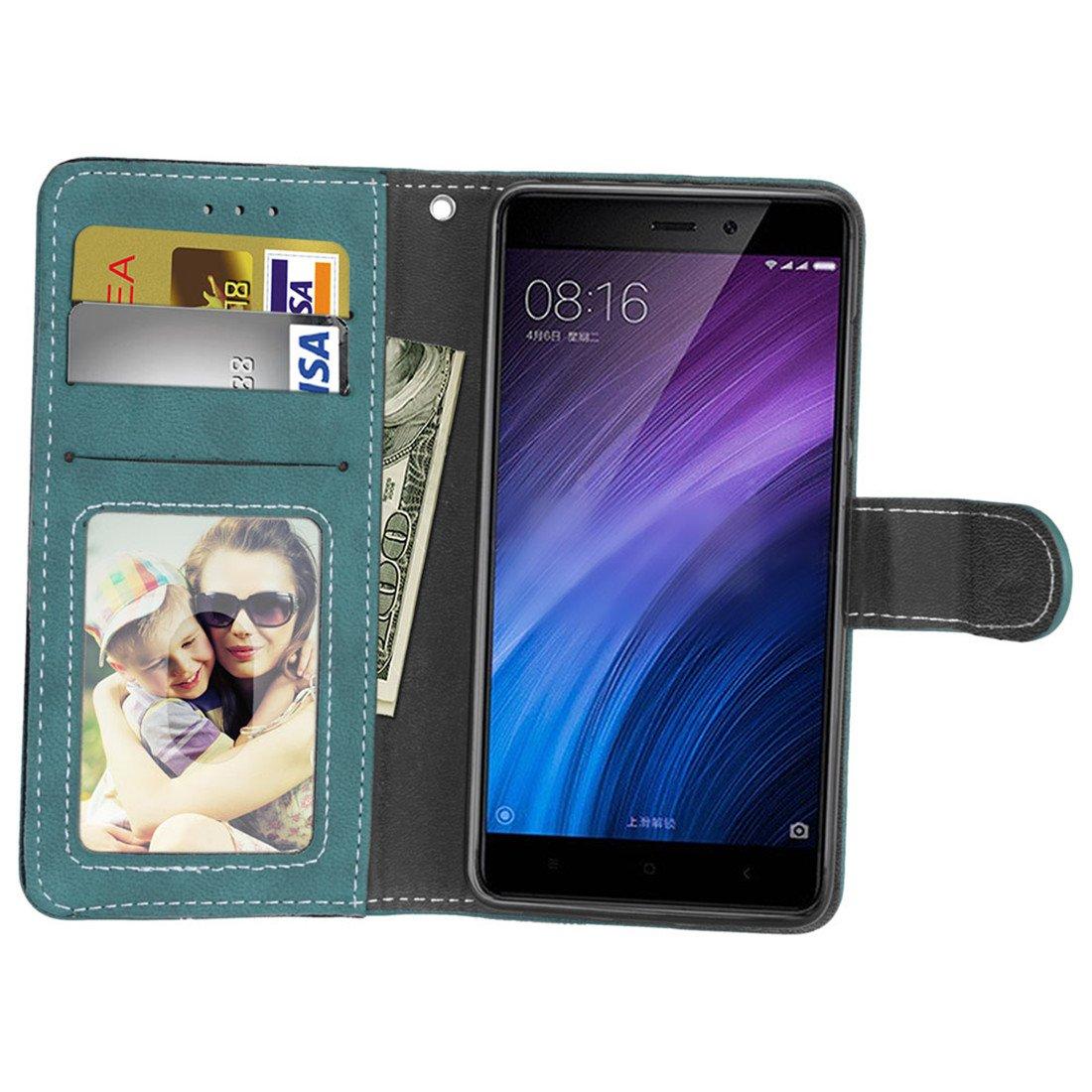 Marr/ón HiKing Para Xiaomi Redmi 4 Pro//4 Prime Funda Retro Frosted 3 Card Slots Cuero De La PU Magn/ético Capirotazo Billetera Apoyo Bumper Protector Cover Funda Carcasa Case