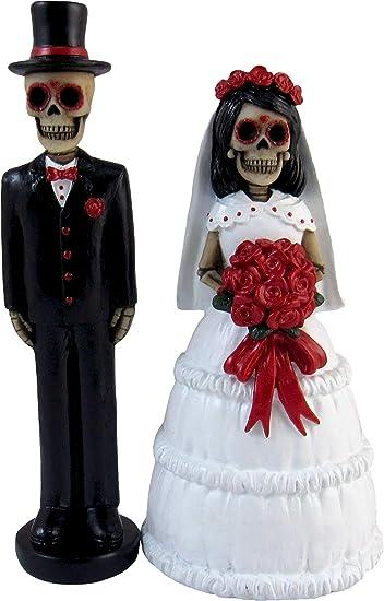 Dwk Dulce Amor Collectible Hand Painted Day Of The Dead Sugar Skull Skeleton Couple Decorative Wedding Figurine Dia De Los Muertos Bride Groom