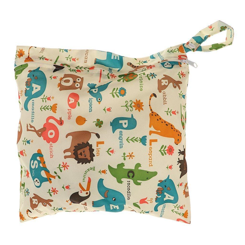 LVEDU - Bolso de pañales lavable con cremallera reutilizable e impermeable, diseño de flores y animales beige beige