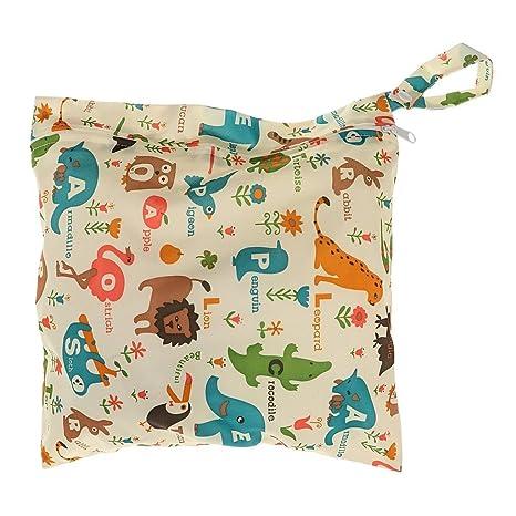 Bolsa para pañales, isuper bolsas de pañales funda Toallitas Organiser Bolsa impermeable para Baby Pañales reutilizables, animales y palabras Modelo