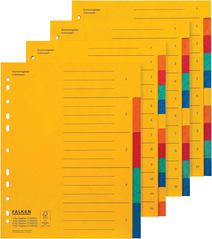 Falken Carton colorspan Registre carton Registre pour DIN A4 24/x 29,7/cm Jaune 5 pi/èces 5-teilig jaune A4