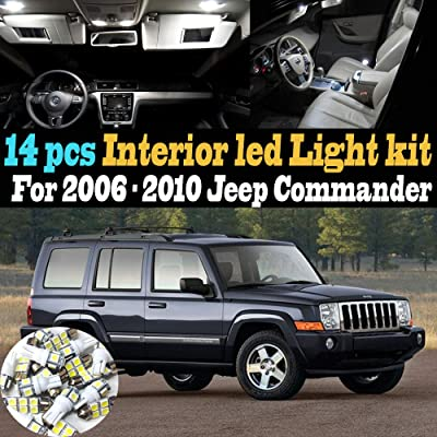 14Pc Super White 6000k Car Interior LED Light Kit Package Compatible for 2006-2010 Jeep Commander: Automotive