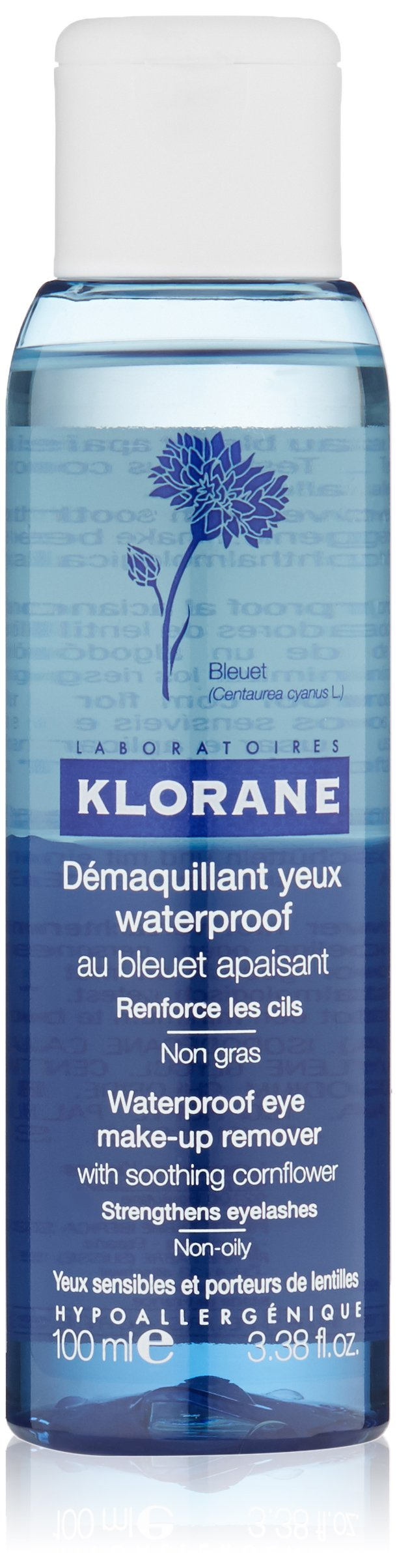 Klorane Waterproof Eye Make-Up Remover with Soothing Cornflower  , 3.38 fl. oz.