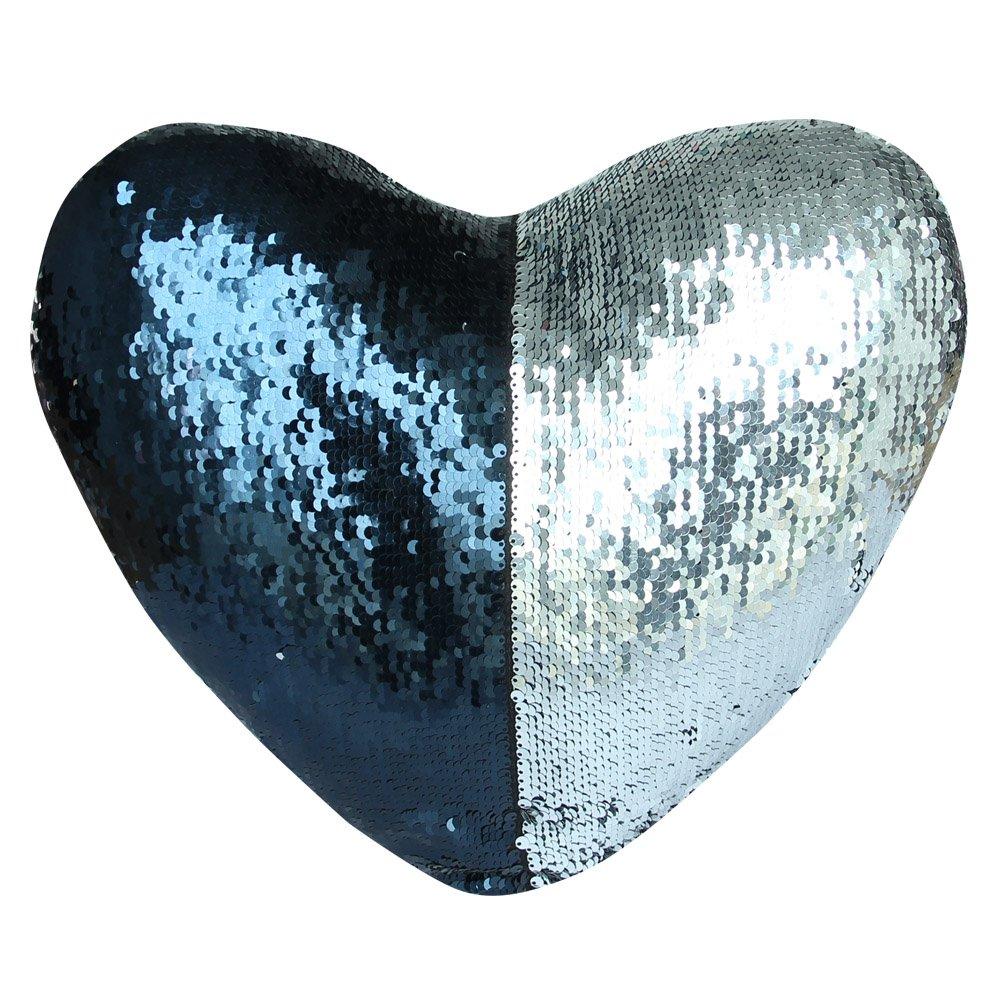 DrCosy, cuscino decorativo bicolore effetto squame di sirena con inserto, cuscino a forma di cuore con paillettes reversibili (35 x 40 cm) Dark Navy/Silver URinfinite