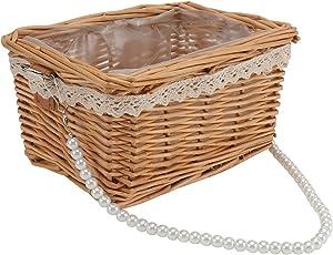 DOITOOL Wicker Rattan Flower Basket Willow Handwoven Basket with Pearl Handle and Plastic Insert Wedding Flower Girl Baskets for Home Garden Farmhouse Decor