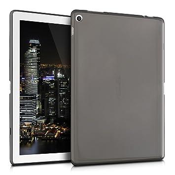 kwmobile Funda para Asus ZenPad 10 (Z300) - Carcasa trasera para tablet de silicona TPU - Cover en negro / transparente
